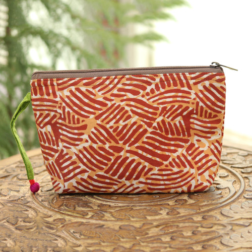 Wave Motif Batik Cotton Cosmetic Bag in Russet from India 'Creative Design in Russet'