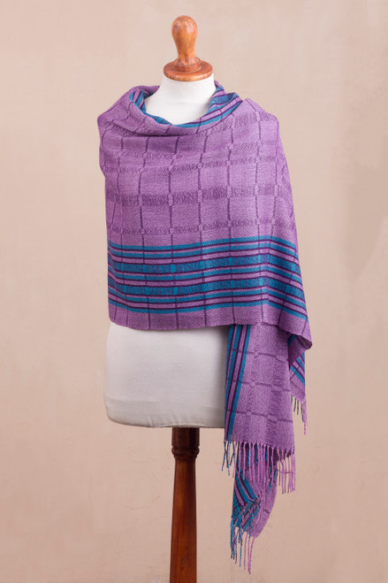 Purple and Turquoise Handwoven Baby Alpaca Shawl from Peru 'Sweet Temptation'