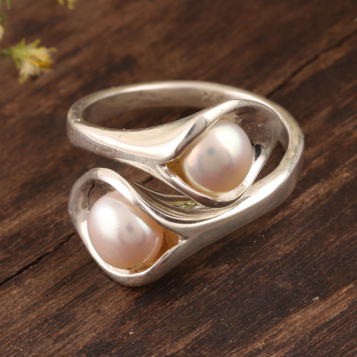 Lily Flower Cultured Pearl Wrap Ring from India 'Lily Twins'