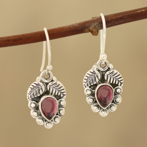 Leaf-Themed Garnet Dangle Earrings from India 'Teardrop Leaves'