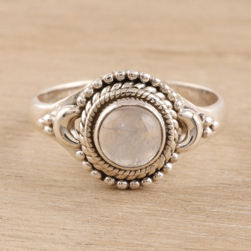 Rainbow Moonstone Cocktail Ring Crafted in India 'Gemstone Moon'