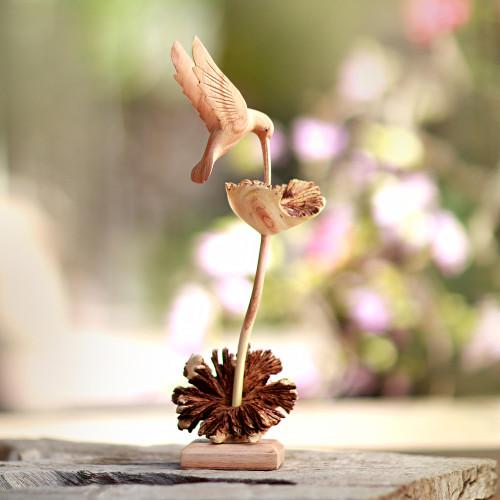 Wood Hummingbird Sculpture Crafted in Bali 'Sipping Hummingbird'