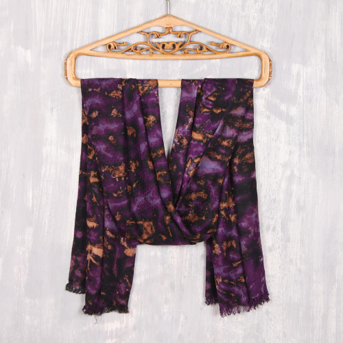 Purple and Caramel Viscose Shawl Crafted in India 'Blissful Fusion in Purple'