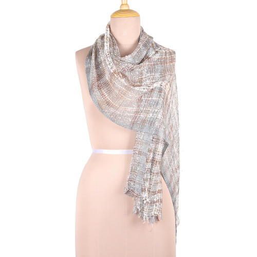 Colorful Patterned Viscose Blend Scarf from India 'Elegant Harmony'