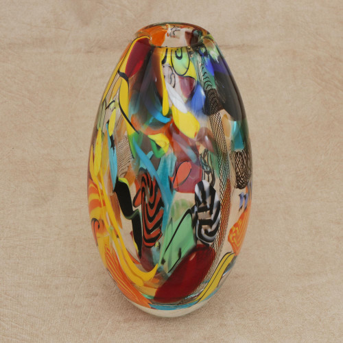 Colorful Art Glass Vase from Brazil 'Colorful Fantasy'