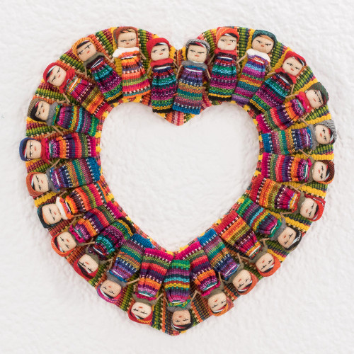 Heart-Shaped Cotton Worry Doll Wreath from Guatemala 'Quitapena Love'