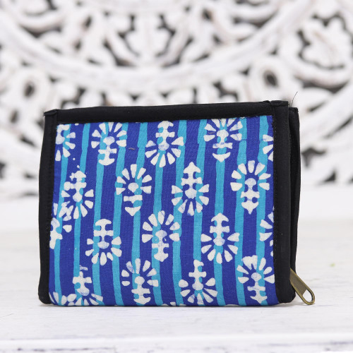 Royal Blue and Turquoise Striped Batik Cotton Wallet 'Magnificent Flair in Blue'