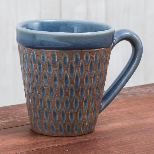 Handcrafted Blue Incised Celadon Ceramic Mug 'Ginger Blue Honeycomb'