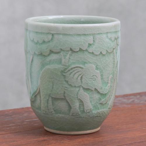 Elephant-Themed Celadon Ceramic Teacup from Thailand 'Elephant Forest'