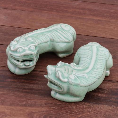 Cultural Celadon Ceramic Pi Xiu Sculptures Pair 'Pi Xiu'