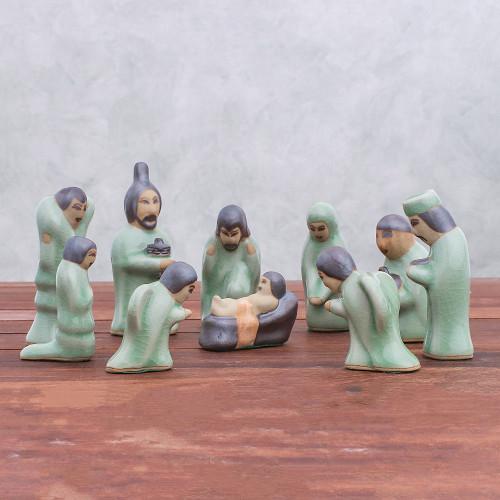 Celadon Ceramic Nativity Scene from Thailand 10 Piece 'Nativity of Love'