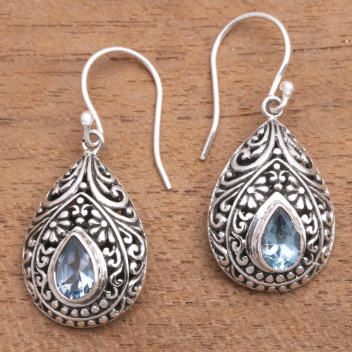 Artisan Crafted Balinese Blue Topaz and Silver Earrings 'Balinese Dewdrop'