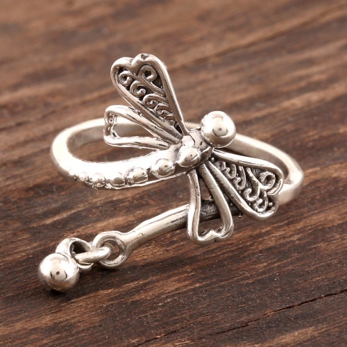Sterling Silver Dragonfly Cocktail Ring from India 'Dragonfly Fantasy'