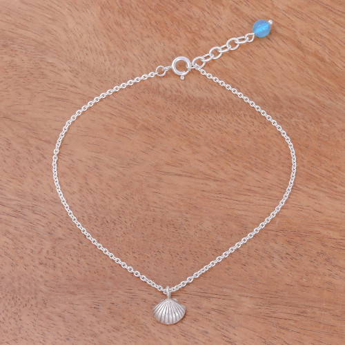 Sea Life-Themed Karen Silver and Quartz Anklet from Thailand 'Charming Shell'