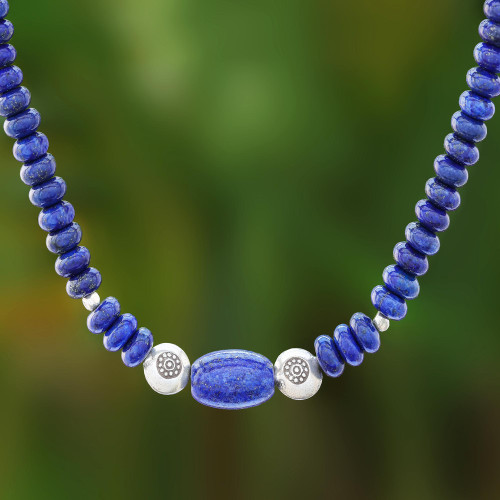 Lapis Lazuli and Karen Silver Beaded Necklace from Thailand 'Great Blue'