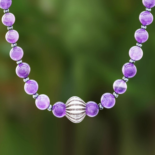 Amethyst and Hematite Beaded Necklace from Thailand 'Violet Karen'