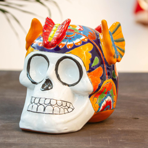 Talavera-Style Ceramic Skull Sculpture from Mexico 'Butterfly Friend'