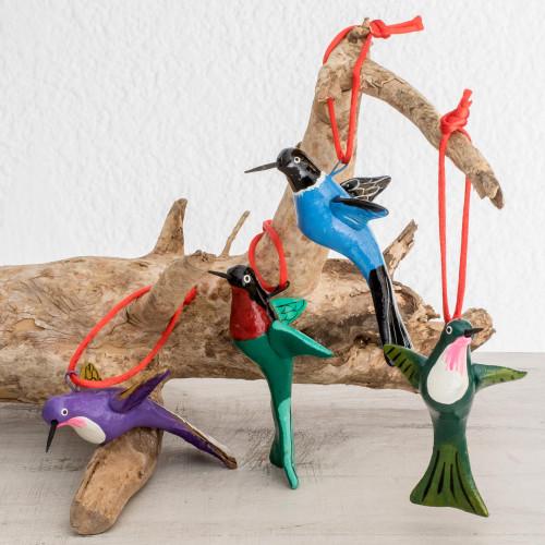Hand-Painted Ceramic Hummingbird Ornaments Set of 4 'Lively Hummingbirds'
