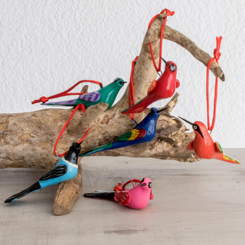 Hand-Painted Ceramic Bird Ornaments Set of 6 'Flight of Love'