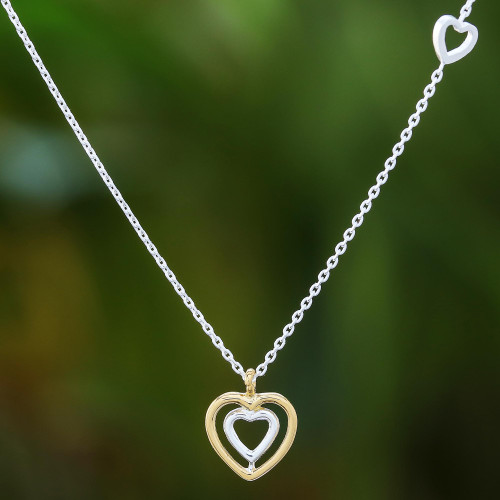 Heart-Shaped Gold Accented Sterling Silver Pendant Necklace 'Lovely Heart'