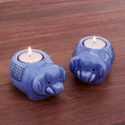 Cute Elephant Blue Ceramic Tealight Holders Pair 'Cute Elephants in Blue'