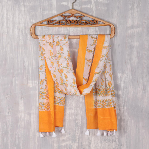 Leaf Motif Block-Printed Cotton Wrap Scarf from India 'Saffron Vines'