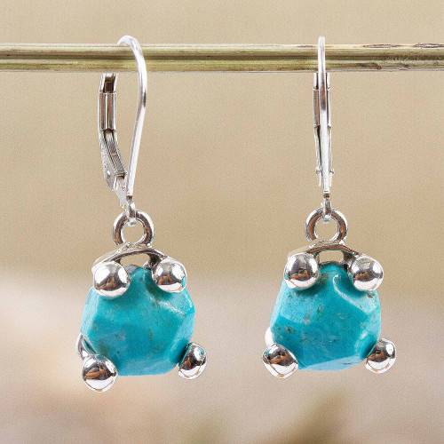 Taxco Reconstituted Turquoise Dangle Earrings from Mexico 'Gleaming Caress'