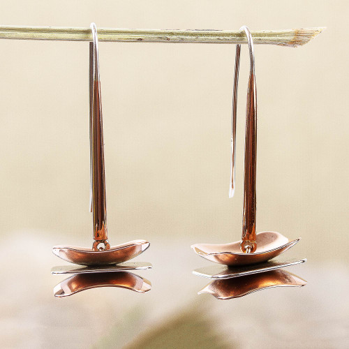 Layered Sterling Silver and Copper Dangle Earrings 'Between Layers'