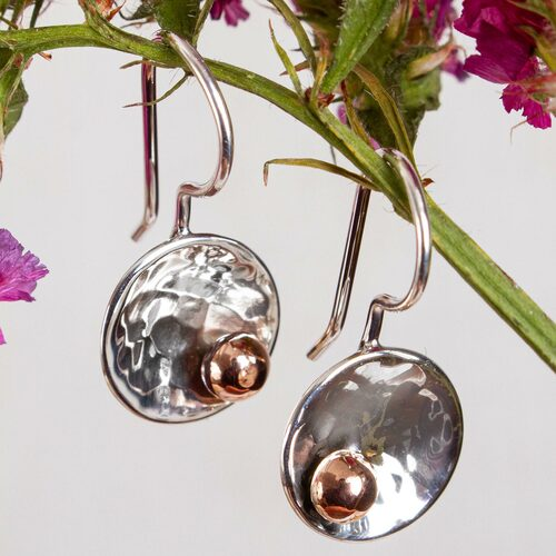 Abstract Taxco Sterling Silver and Copper Drop Earrings 'Celestial Center'