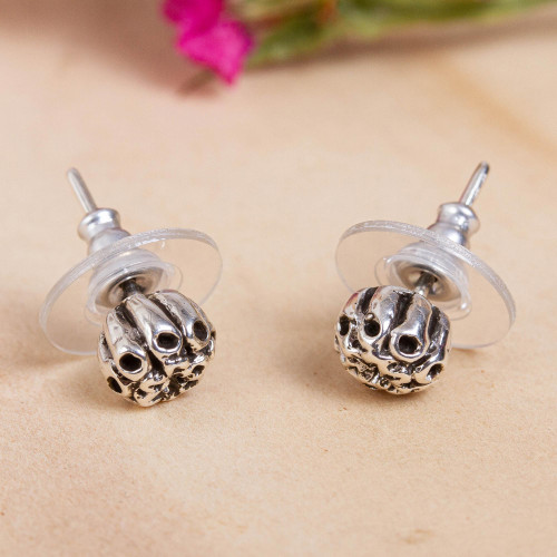 Floral Taxco Sterling Silver Stud Earrings from Mexico 'Floral Pod'