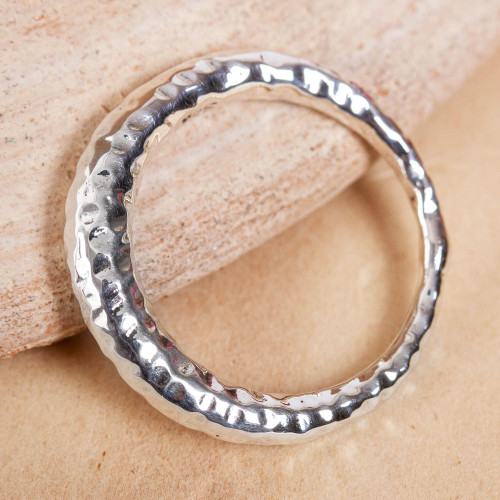 Hammered Taxco Sterling Silver Band Ring from Mexico 'Ring of Freedom'