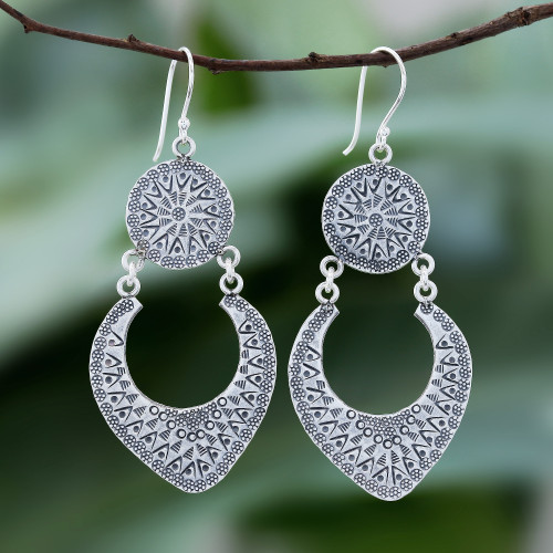 Karen Hill Tribe Silver Dangle Earrings from Thailand 'Moon Patterns'
