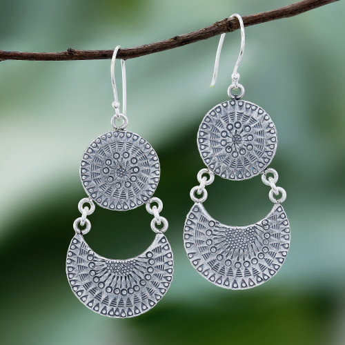 Karen Silver Crescent Dangle Earrings from Thailand 'Crescent Love'