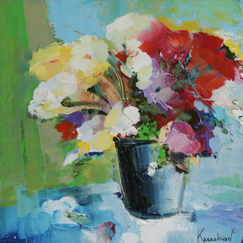 Colorful Floral Still Life Painting by a Brazilian Artist 'Vase of Flowers II'
