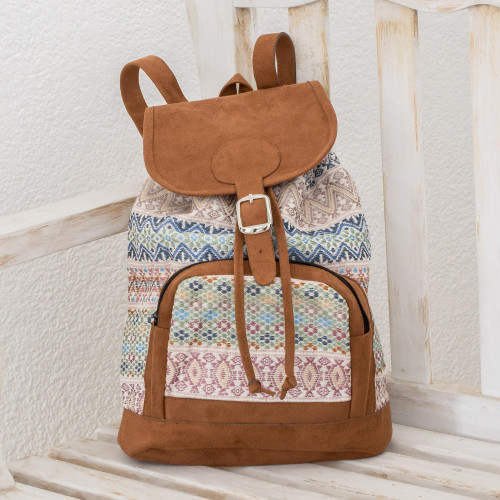 Pastel Faux Suede-Accented Cotton Backpack from Guatemala 'Traditional Pastel'