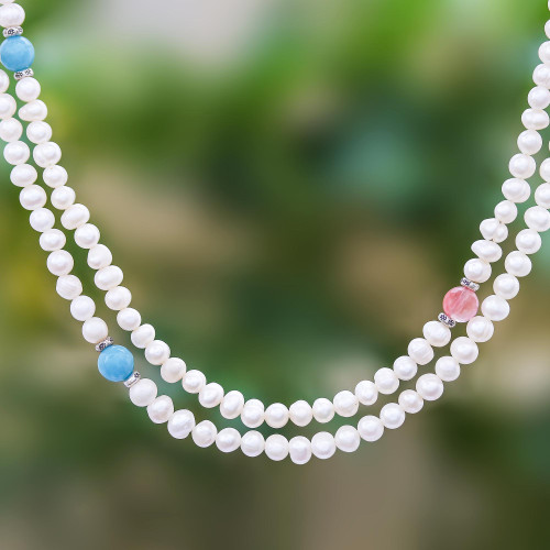 Long Cultured Pearl and Gemstone Strand Necklace 'Sweetness'