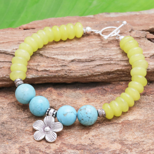 Yellow Agate Bracelet with Hill Tribe Silver Flower Charm 'Daisy in the Sunshine'
