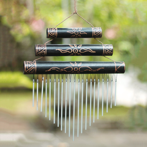 Sun Motif Bamboo Wind Chimes in Black from Bali 'Breezy Sound'