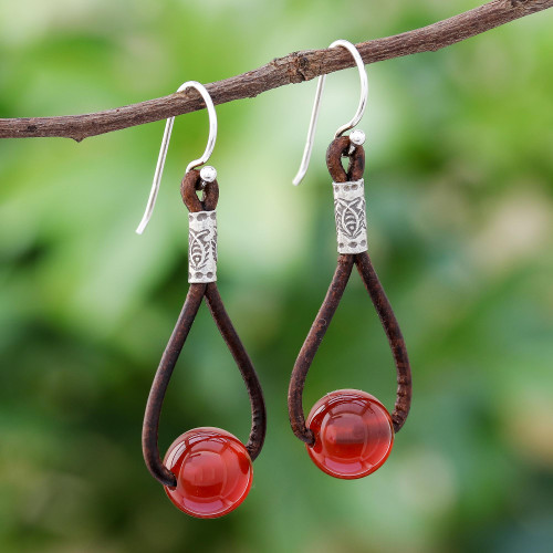 Carnelian and Karen Silver Dangle Earrings with Leather 'Spring Passion'