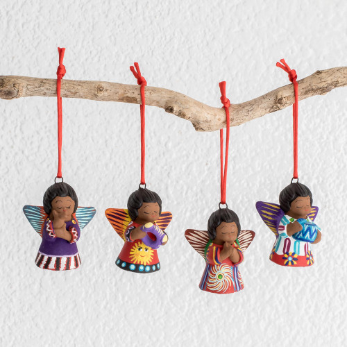 Four Handcrafted Ceramic Angel Ornaments 'Earth Angels'