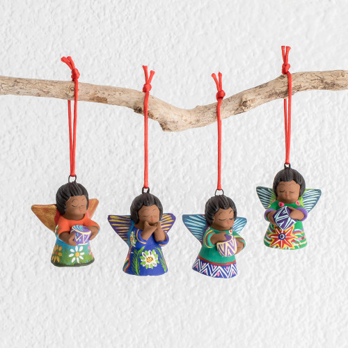 Handcrafted Ceramic Angel Ornaments Set of 4 'Forest Angels'