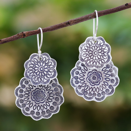 Floral Karen Silver Dangle Earrings Crafted in Thailand 'Flower Passion'