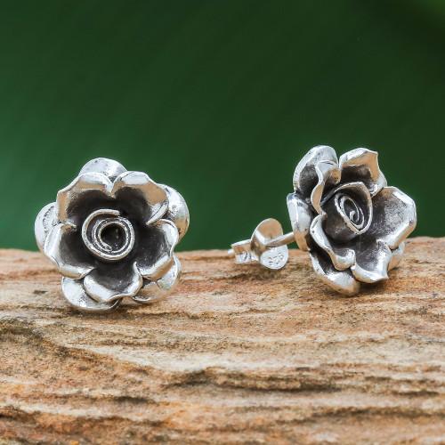 Thai Karen Hill Tribe Silver Flower Theme Button Earrings 'Hill Tribe Roses'