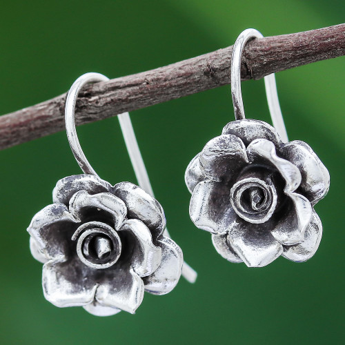 Rose Theme Thai Karen Hill Tribe Silver Drop Earrings 'Hill Tribe Roses'