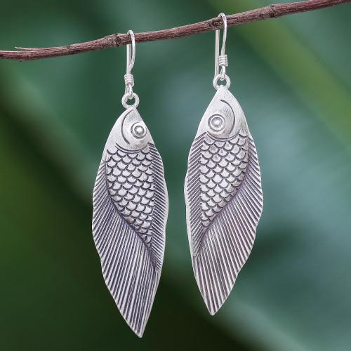 Thai Karen Hill Tribe Silver Fish Earrings 'Karen Fish'