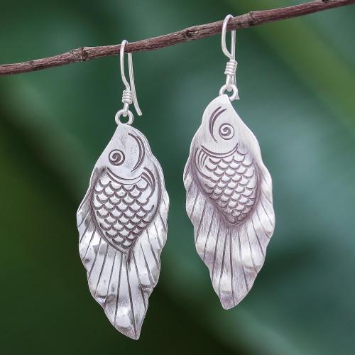 Thai Karen Hill Tribe Silver Koi Fish Dangle Earrings 'Hill Tribe Koi'