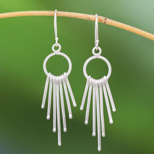 Karen Silver Waterfall Earrings with Rings from Thailand 'Bright Cascade'