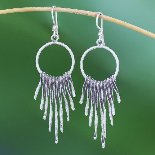 Combination-Finish Karen Silver Waterfall Earrings 'Dark Cascade'