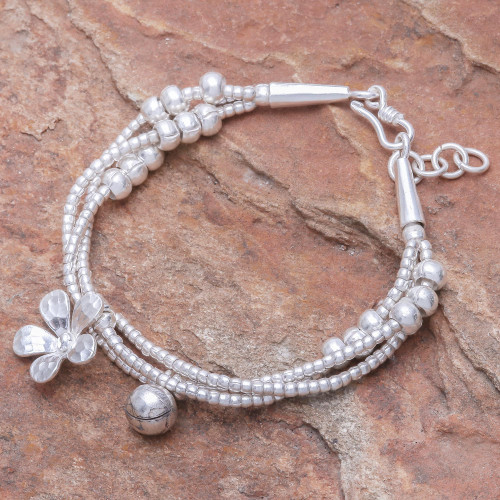Thai Karen Hill Tribe Silver Floral Bracelet with a Bell 'Singing Blossom'