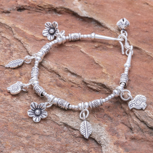 Floral Karen Silver Beaded Charm Bracelet from Thailand 'Essence of the Forest'